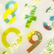Colourful numbers as background on white canvas...