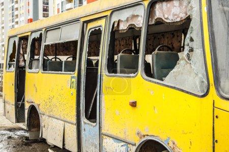 Bus with broken windows
