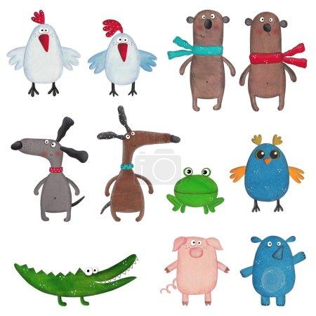 Reihe von Cartoon-Haustieren