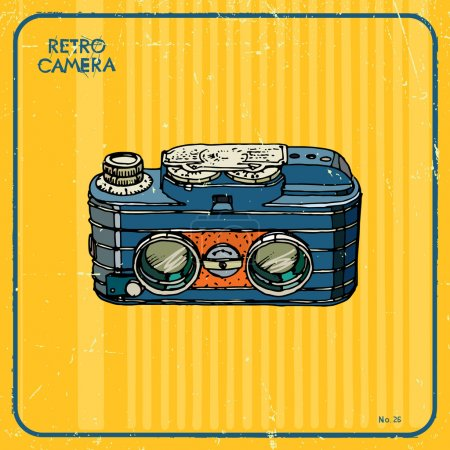 Illustration for Vector card with vintage camera - Royalty Free Image