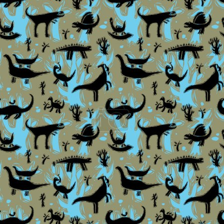 Illustration pour Modèle sans couture avec différents dinosaures. Illustration vectorielle . - image libre de droit