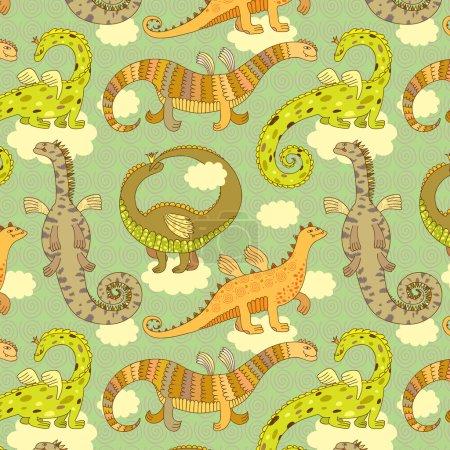 Illustration pour Modèle sans couture avec différents dragons. Illustration vectorielle . - image libre de droit