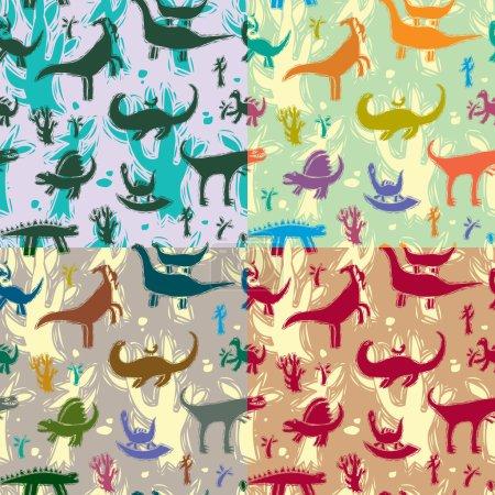 Illustration pour Modèle sans couture avec différents dinosaures. Illustration vectorielle. Ensemble . - image libre de droit