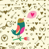Seamless pattern with big bird hearts arrows and other holidays elements