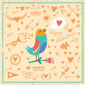 Card bird and hearts