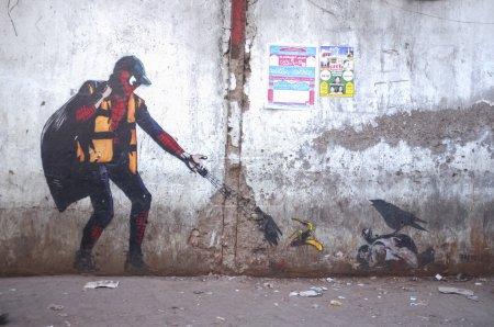 Graffiti art of Spiderman in