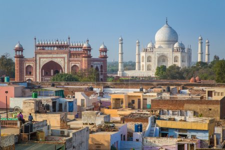 Taj Mahal, Great Gate and rooftops