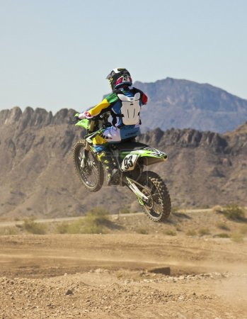 A Motocross Racer Practices at