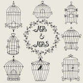 Set of hand drawn bird cages