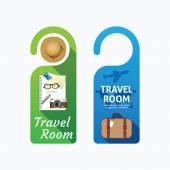 Paper door handle lock hangers concept travel room banner vector set
