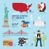 USA Flat Icons Design