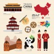 China Flat Icons Design Travel Concept.Vector...