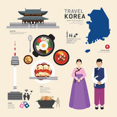 Korea Flat Icons Design Travel ConceptVector