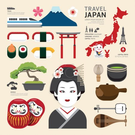Illustration for Japan Flat Icons Design Travel Concept.Vector - Royalty Free Image