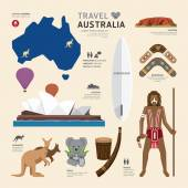 Travel Concept Australia Landmark Flat Icons Design Vector Illustration