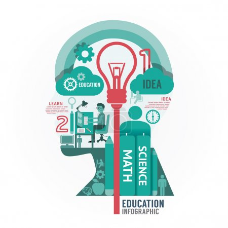 Photo for Infographics vector head education design diagram template - Royalty Free Image
