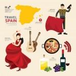 Travel Concept,  Spain Landmark Flat Icons Design ...
