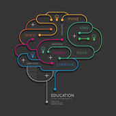 Flat linear Infographic Education Outline Brain Concept Vector Illustration