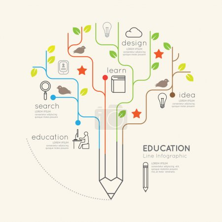 Illustration for Flat linear Infographic Education Pencil Tree Outline concept. Vector Illustration - Royalty Free Image