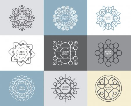 Illustration for Vector set of calligraphic , flower abstract templates concept, outline emblems and badges - Royalty Free Image