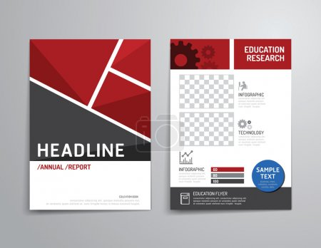 Illustration for Vector brochure, flyer, magazine cover, booklet poster design template. layout education annual report A4 size. - Royalty Free Image