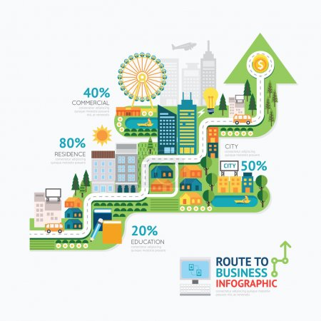 Infographic business arrow shape template
