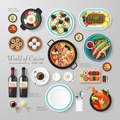 Infographic food business flat lay idea Vector illustration hipster concept can be used for layout advertising and web design