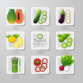 Infographic food vegetables flat lay idea