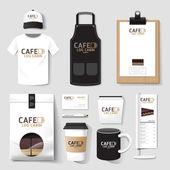 Vector restaurant cafe set flyer menu package t-shirt cap uniform design layout set of corporate identity template