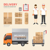 Delivery shipping service job character icons
