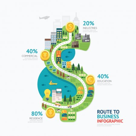 Illustration for Infographic business money dollar shape template design. route to success concept vector illustration,  graphic or web design layout. - Royalty Free Image