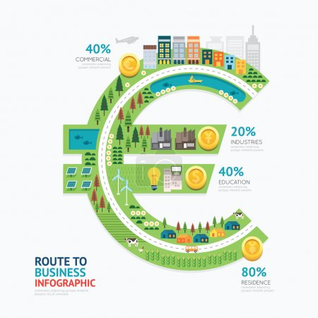 Illustration for Infographic business money euro shape template design. route to success concept vector illustration, graphic or web design layout. - Royalty Free Image