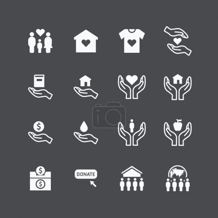 Illustration for Charity and donation silhouette icons flat design vector - Royalty Free Image