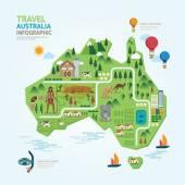 Infographic australia map shape template design