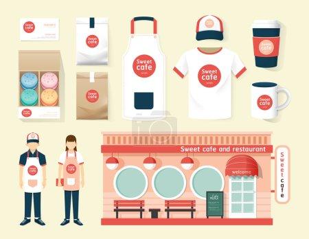 Restaurant set of corporate identity mock up template.