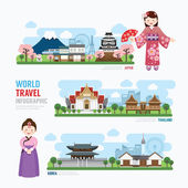 Travel and Building asia Landmarks of  Korea japan Thailand Template Design Infographic Concept Vector Illustration