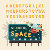 Vintage space rocket billboard sign
