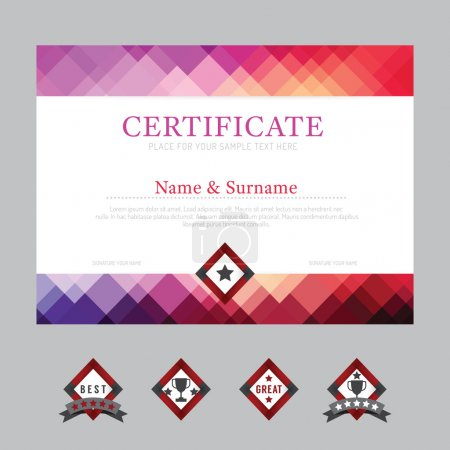 Illustration for Certificate template layout background frame design vector. modern flat art style - Royalty Free Image