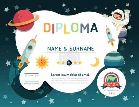 Illustration for Certificate kids diploma, kindergarten template layout space background frame design vector. education preschool concept flat art style - Royalty Free Image