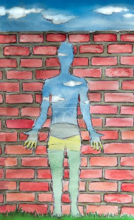 Photo for Human shaped window, inner emptiness concept watercolor illustration - Royalty Free Image