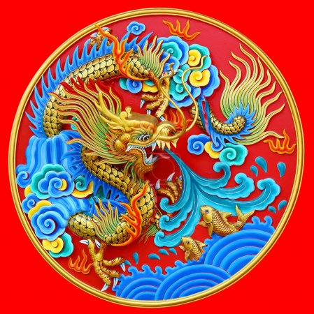 Chinese dragon statue on the wall clipping path.
