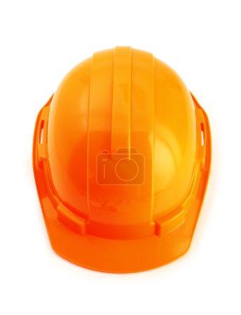 Orange safety helmet isolated on white background, hard hat on w