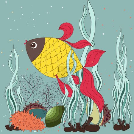Illustration for Underwater landscape with various water plants and swimming tropical fishes. All objects are grouped. - Royalty Free Image
