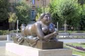Woman Smoking a Cigarette by Fernando Botero. Cafesjian Museum of Art and the Cascade. Armenia, Yerevan