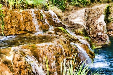 Mountain Lake and Waterfall - Impressionism