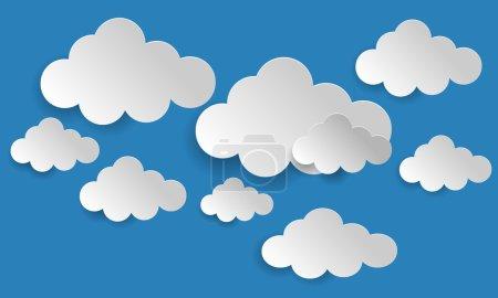 Illustration pour Bulles de parole abstraites sous la forme de nuages utilisés dans un réseau social sur fond bleu clair. Concept de Cloud Computing . - image libre de droit