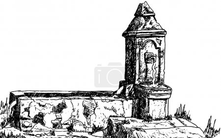 View of an old worn fountain in Baroque style on t...