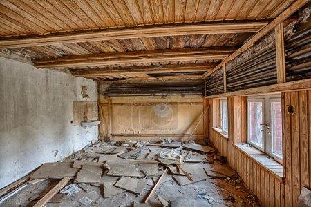 Demolished room with wainscoting
