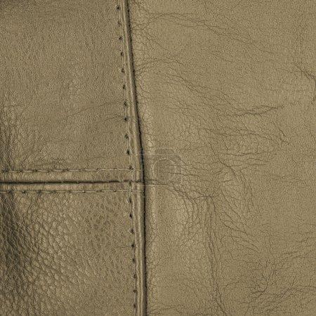 Photo pour Texture cuir marron, coutures - image libre de droit