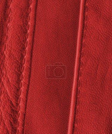 Photo pour Fond cuir rouge, coutures - image libre de droit